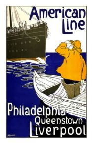 Vintage shipping poster - Philadelphia, Queenstown, Liverpool